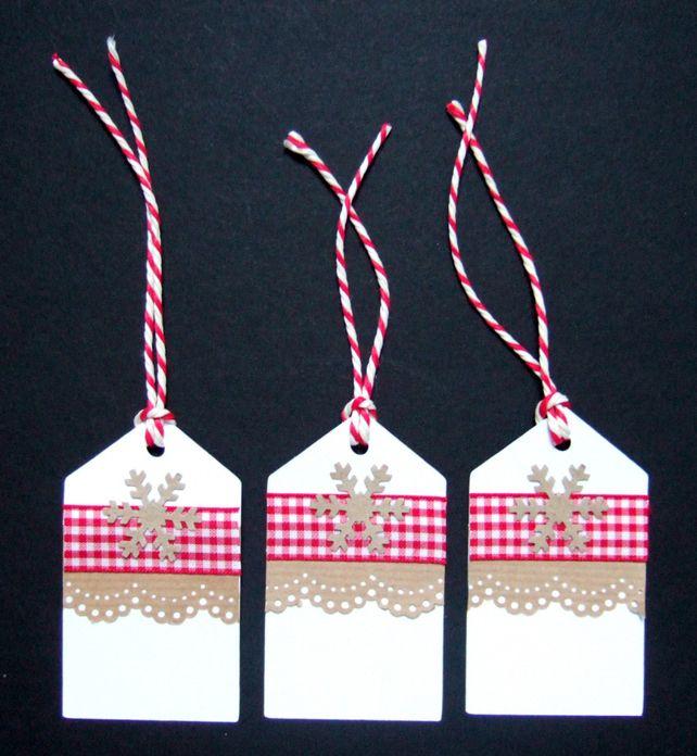 Christmas Gingham Gift Tags 3pk, Xmas Handmade Tags £1.80