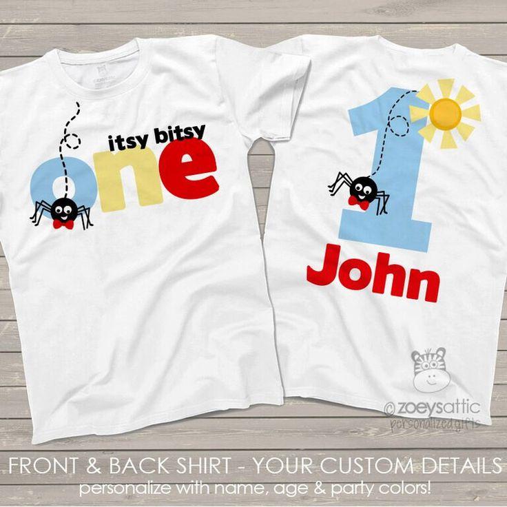 Itsy bitsy spider First 1st birthday shirt - perfect for any age birthday by zoeysattic on Etsy https://www.etsy.com/listing/245815467/itsy-bitsy-spider-first-1st-birthday