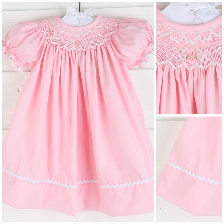 This adorable dress is perfect for spring and summer time! Smocked geometric with floral detail on solid pink background.