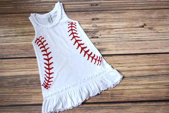 Infant and Toddler Baseball Ruffle Tank Dress. Baby Shower Gift / Birthday Present for kids. Baseball girl clothes. on Etsy, $22.00