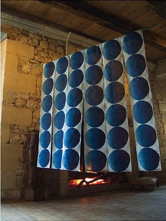 "Untitled Noren, 2006, indigo dyed hemp kibira, paste resist, 72"" x 72"" by Rowland Ricketts"