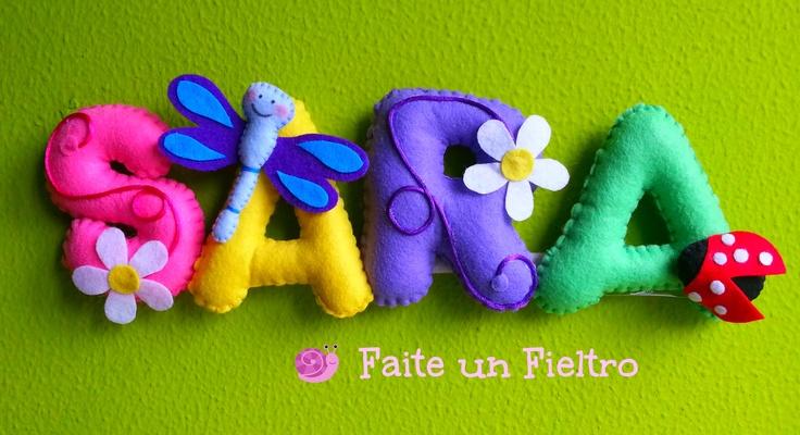 FAITE UN FIELTRO. Nombre en fieltro cosido a mano! Pide el tuyo en http://faiteunfieltro.blogspot.com.es/
