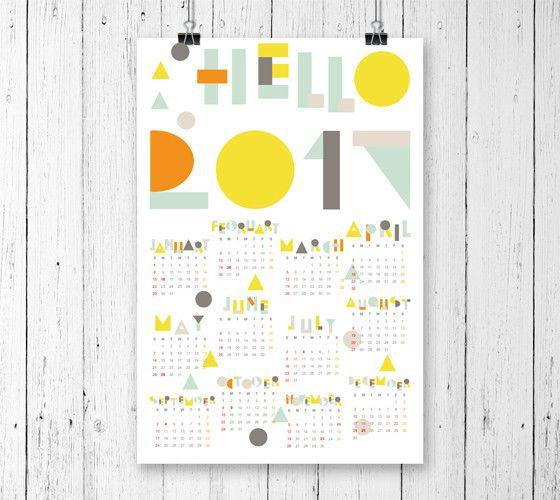 geometric wall calendar 2017