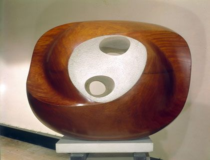 Oval Sculpture (Delos), Guarea wood, part painted, 1955 (BH 201), National Museums and Galleries of Wales, Cardiff
