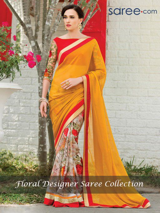 YELLOW AND MULTI COLOR PURE GEORGETTE SAREE WITH SEQUINS WORK