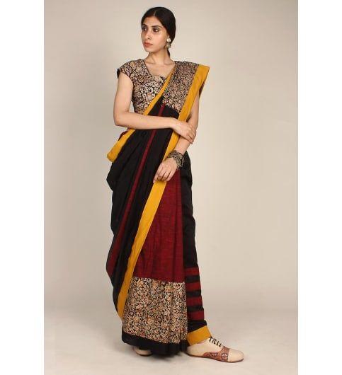 Beyond elegance! Buy this hand printed Kalamkari saree on #kraftly