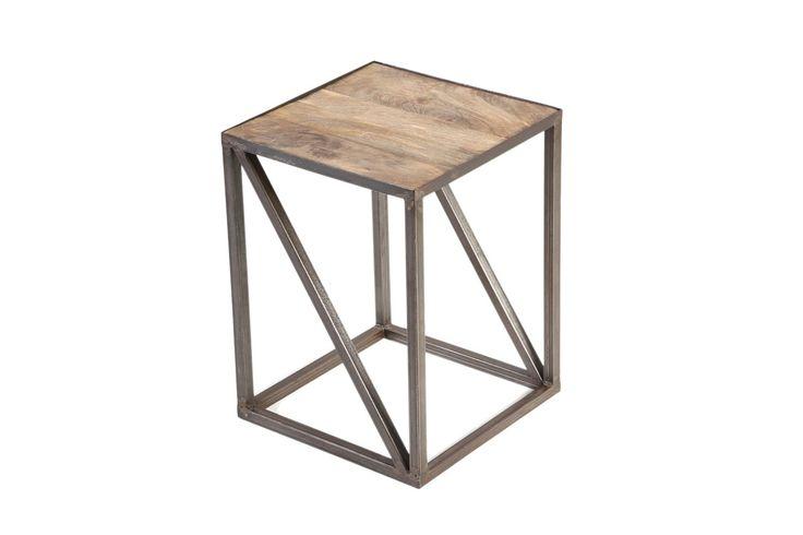 Bout de canapé bois massif et métal industriel ATELIER - Zoom