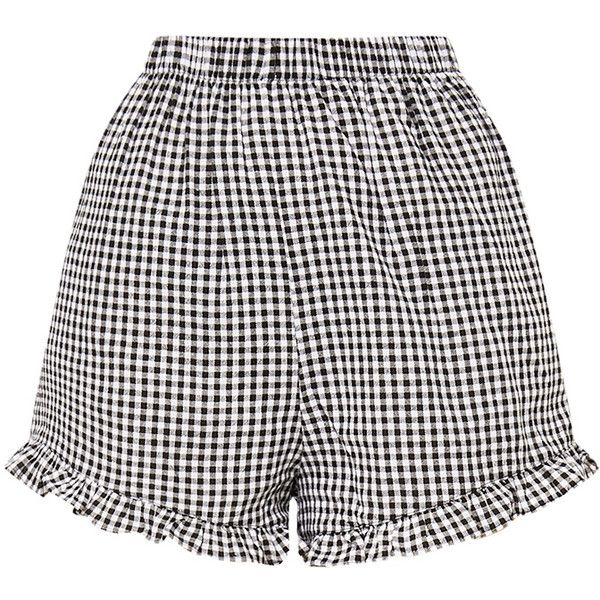 Lorinda Black Gingham Frill Hem Shorts (1,625 INR) ❤ liked on Polyvore featuring shorts, bottoms, pants, ruffle hem shorts, ruffle shorts, frilly shorts and gingham shorts