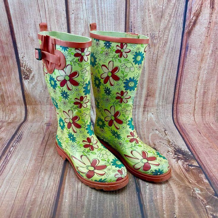 Womans Wellies boots with Flower Patterns 💐 garden rain waterproof size 9