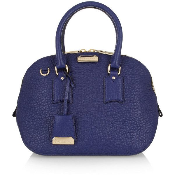 Burberry Shoes & Accessories Textured-leather bowling bag (18,000 MXN) ❤ liked on Polyvore featuring bags, handbags, burberry, borse, purses, blue, totes, bowling bags, blue purse and bowler handbag