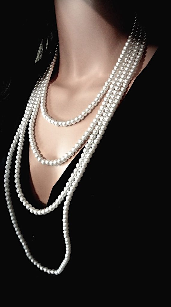 Pearl necklace ~ Long ~ 4 strand ~ Statement necklace ~ This long pearl necklace has a Victorian vintage and very romantic feel. It is very