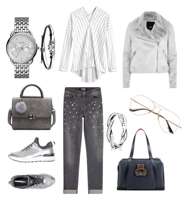 """Untitled #33"" by iuliacalin on Polyvore featuring Karl Lagerfeld, New Balance, River Island, Christian Louboutin, FOSSIL, Ray-Ban and Pandora"