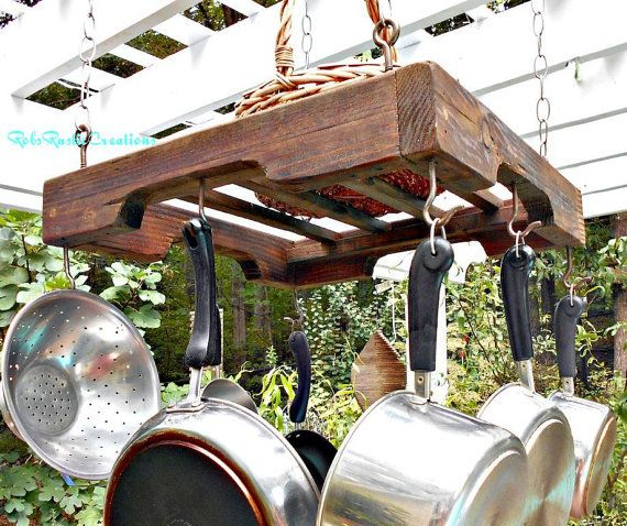 Hanging Pallet Rail Pot Rack Industrial Pot by RobsRusticCreations