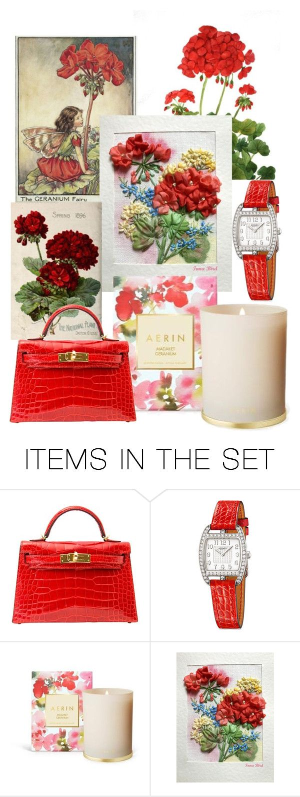 Red Geraniums by innesan on Polyvore featuring art