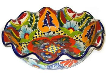 Round Talavera Bowl, made by Francisco Dorga, Mexico