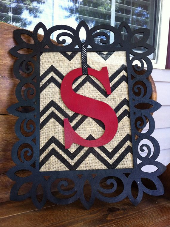 Framed Burlap Door Hanging on Etsy, $35.00