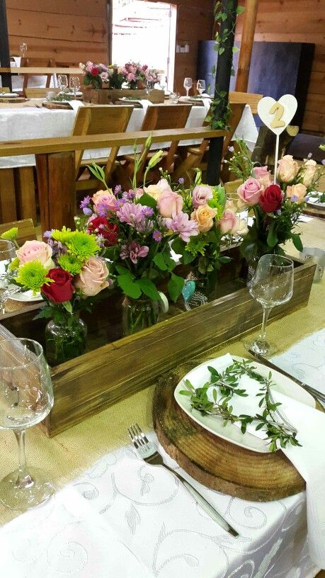 Beautiful mix of colours in a rustic wooden box