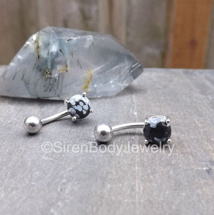 Belly button ring black 14g snowflake obsidian stone prong set silver stainless steel navel piercing curved barbell piercing jewelry one