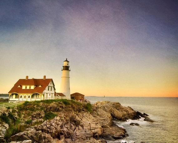 Portland Lighthouse Photo  Maine landscape by NancyFphotos on Etsy, $25.00