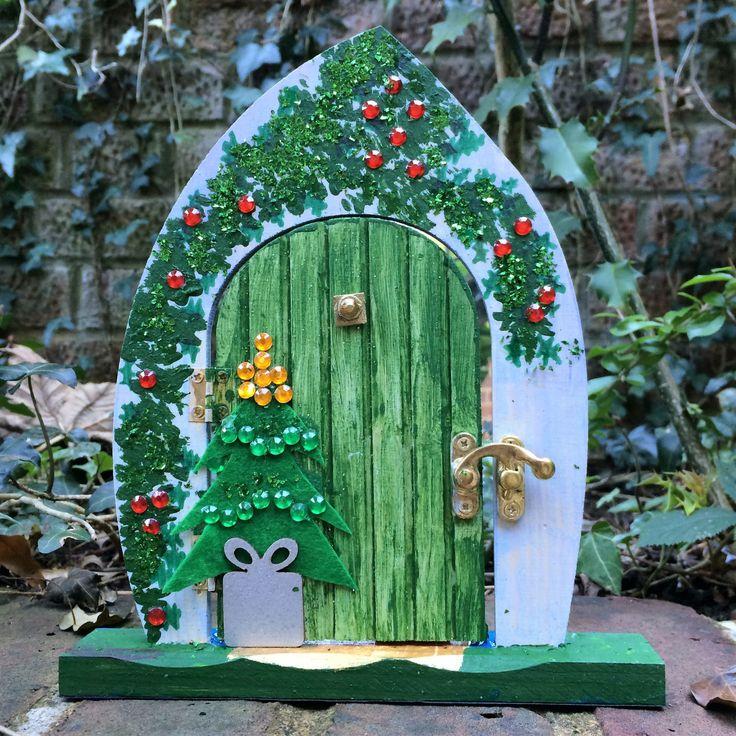 Christmas Fairy Door by Rosiesartsandcraft on Etsy