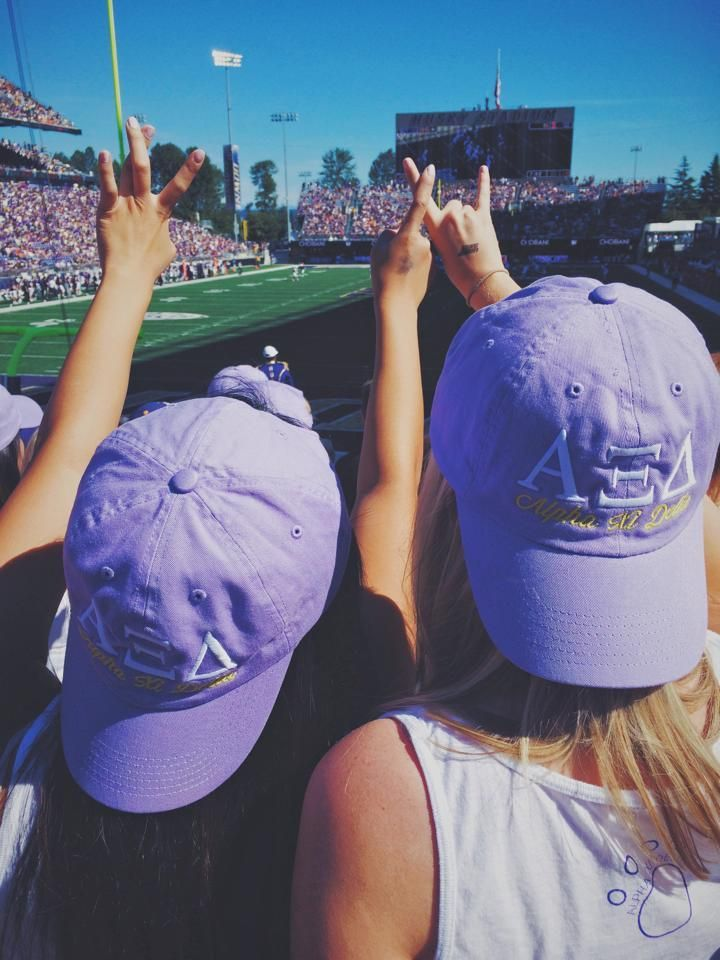 embroidered sorority hats! shown in alpha xi delta