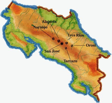 regions of costa rica There is a wide variety of costa rica destination's to choose from, making this  country a top vacation destination  costa rica regions and destinations map.