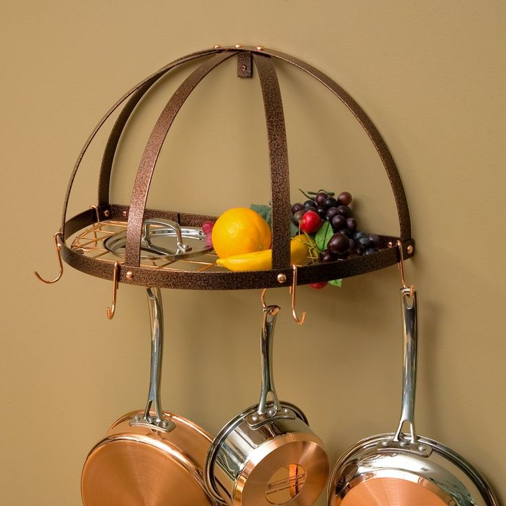 The Gourmet Half Dome Pot Rack with Grid - The Gourmet Half Dome Pot Rack with Grid provides a three-dimensional visual element plus the storage space you need for functional decor in your kitchen....