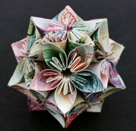 Made from currency: Flowers Ball, Internet Marketing, Money Origami, Paper Flowers, Money Flowers, Geometric Shape, Kristi Malakoff, Paper Crafts, Origami Flowers