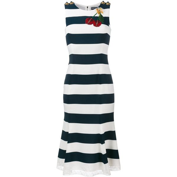 Dolce & Gabbana cherry applique stripe dress ($3,495) ❤ liked on Polyvore featuring dresses, blue, cherry print dress, sparkly sequin dress, blue print dress, blue sequin dress and stripe dresses