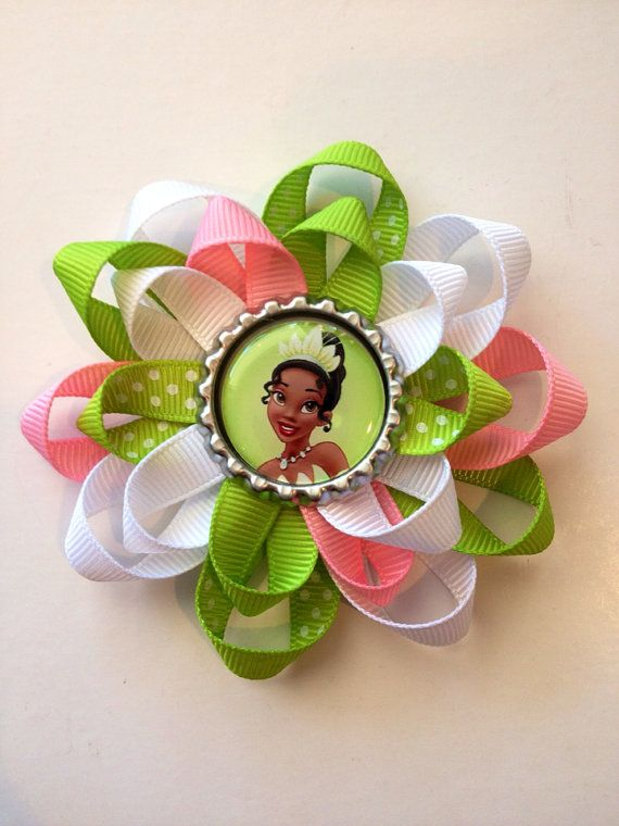 The Princess and the Frog/ Princess Tiana Bottle Cap Hair Bow on Etsy, $5.00