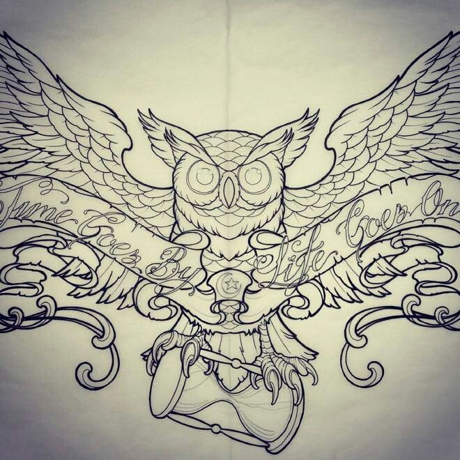 Owl With Hourglass Tattoo. I would change s few things about this.