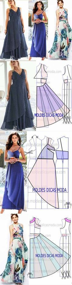 Saving for the blue dress pattern - love the way the sheer fabric drapes...