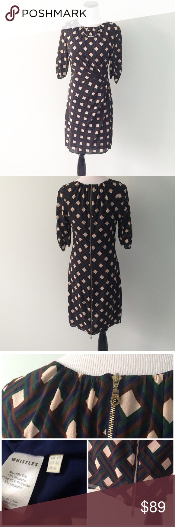 """WHISTLES UK Navy blue brown Silk zipper Dress High-end UK brand. Beautiful 85% silk and 15% elastane dress. Gently worn once. Navy blue, cream, brown and green. Full zipper on back of dress. Can be zipped from top or bottom. Ruched on side of waist. Fully lined. Length 36"""".  Chest 17.5"""". ▪️UK size 10, US size 6. Whistles Dresses"""