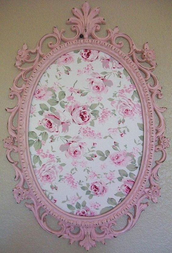SHABBY CHIC-COTTAGE-Nursery-Girls-Room Decor-Baroque Ornate Vintage Frame. Put initial in the center :):