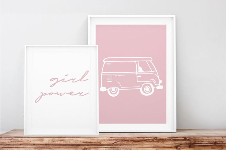Dos cuadros imprimibles girl power y coche, Calligraphy, printable love, coche, rosa, habitación niña, furgoneta rosa, decoración infantil de PetitePrune en Etsy https://www.etsy.com/es/listing/470091596/dos-cuadros-imprimibles-girl-power-y