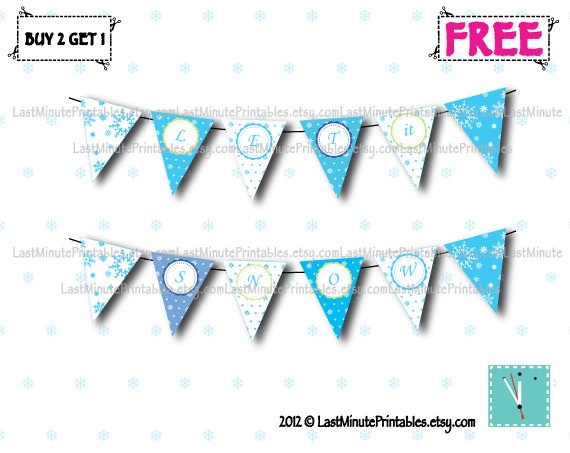 Christmas banner, snowball, silver snowflake by LastMinutePrintables, $2.29