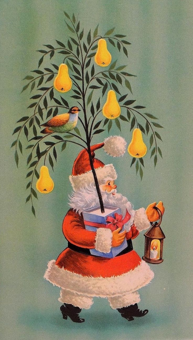 541 best holiday vintage christmas images on pinterest retro santa with a partridge in a pear tree kristyandbryce Images