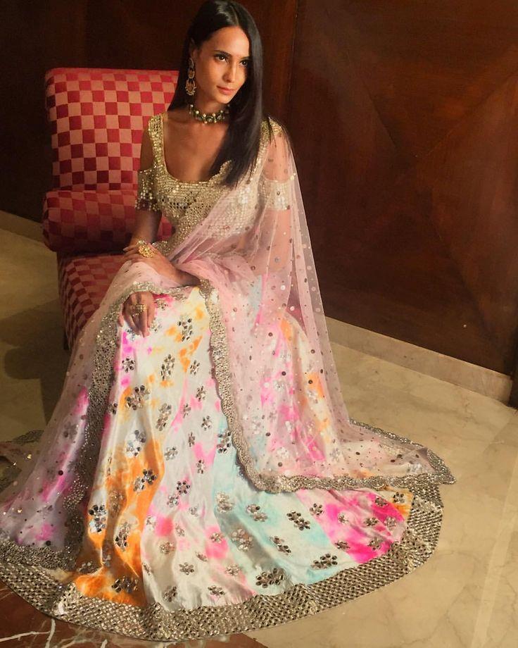 "267 Likes, 4 Comments - Akanksha Gajria (@akankshagajria) on Instagram: ""A still of the multicoloured tie dye lehenga with our classic mirror embellished choli on the…"""