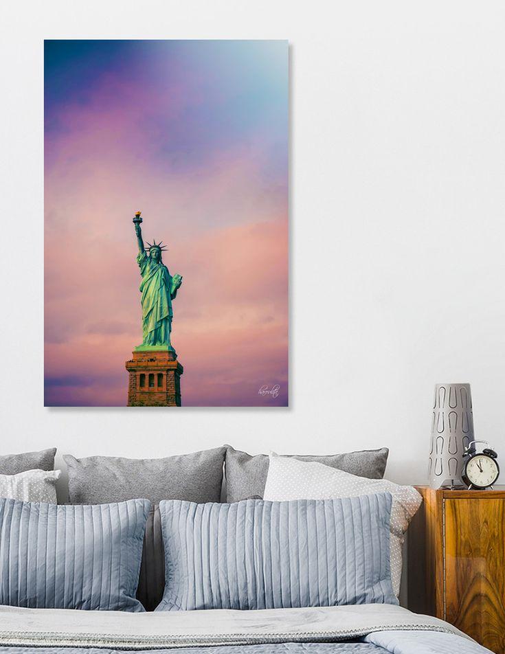 «Statue of Liberty», Limited Edition Aluminum Print by haroulita - From 95€ - Curioos  #curioos #newyork #newyorkcity #missliberty #wallart #walldecor #homedecor #homedeco #homedecoration #homedecorideas #statueofliberty #pink #purple  #magical #fantasyart