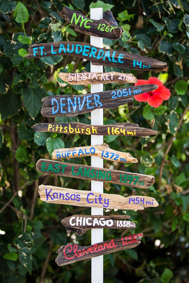 Driftwood sign of guest hometowns   Hollywood Beach Florida Wedding Infused With Irish Beach Spirit   Photograph by Ricky Stern Photography  http://storyboardwedding.com/hollywood-beach-florida-wedding-irish-beach/