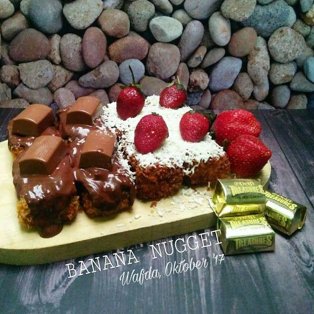 resep banana nugger lumer di mulut yang banyak banget topping nya ada mactha, coklat , tiramisu, dan masih banyak lagi,
