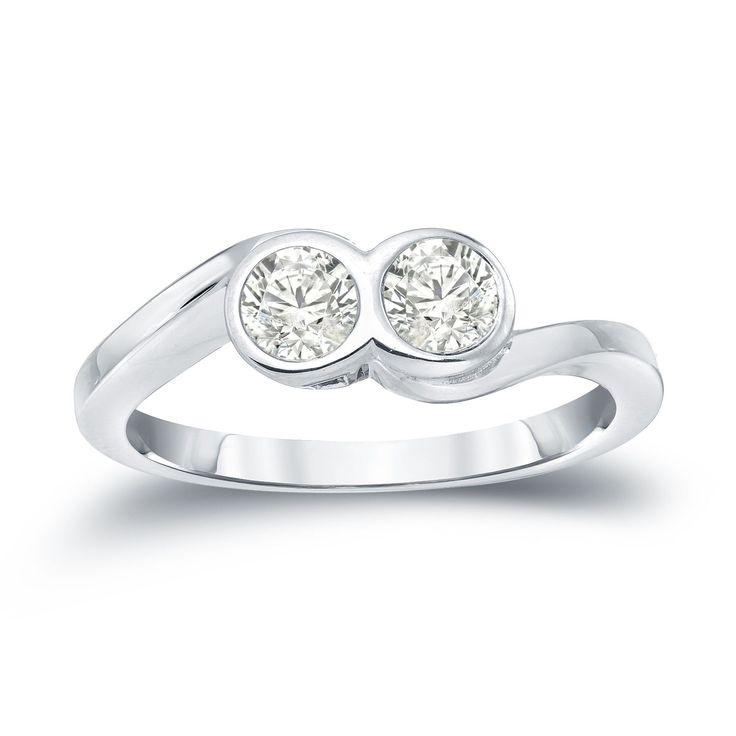 Auriya 14k Gold 3/4ct TDW 2-Stone Round Cut Diamond Engagement Ring (J-K, I1-I2) (White Gold - Size 8), Women's