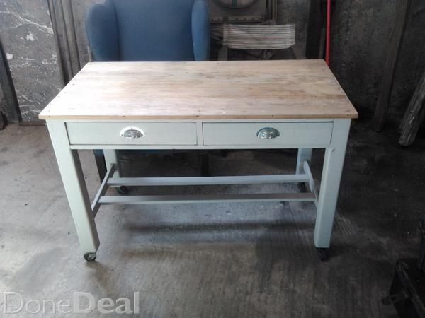 "Pine Kitchen table:- Solid no work required, except clear wax polish.- Painted by hand with Annie Sloane chalk paint.- Two drawers.- 4ft 2"" by 2 ft 1""- 180,00 EUR.Original Irish Cottage Chairs:- 6 all different ones.- 40,00EUR /each."