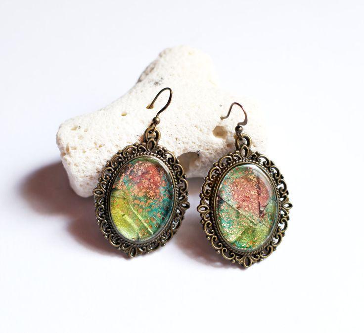 Baumeln Ohrringe bunt baumelt romantischen Schmuck böhmischen Ohrringe abstrakte Schmuck Frauen Geschenk für ihr Harz Ohrringe künstlerische Tropfenohrring