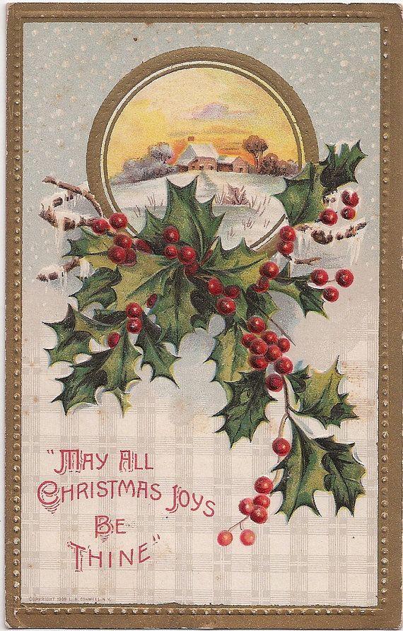 Antique Christmas Joys Be Thine 1909 Old Postcard