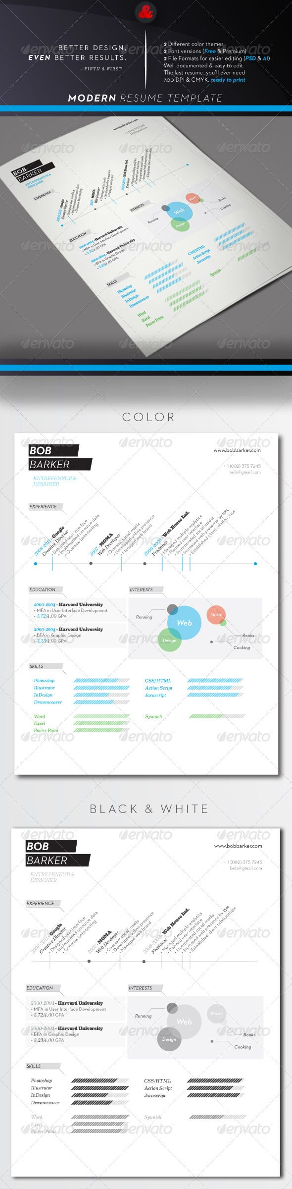 1000  images about photoshop resume templates on pinterest