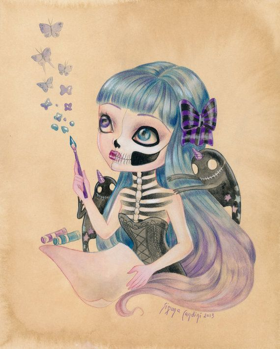 "Little Demons Of Inspiration LIMITED EDITION print signed numbered Simona Candini Art ""Bones And Poetry"" lowbrow pop surreal big eyes skull on Etsy, $30.00"