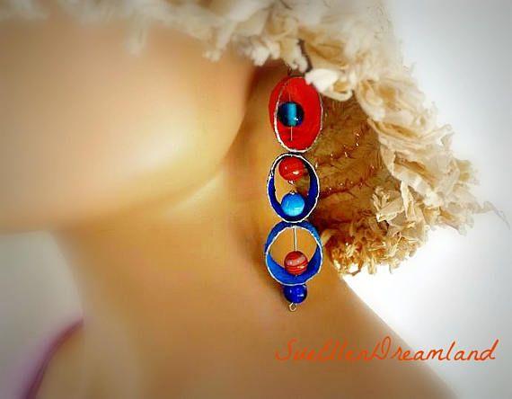 Silk cocoon boho dangling drop earrings colorful blue  orange agate  earrings,OOAK,gift for her, Greek Shop,ready to ship,egst