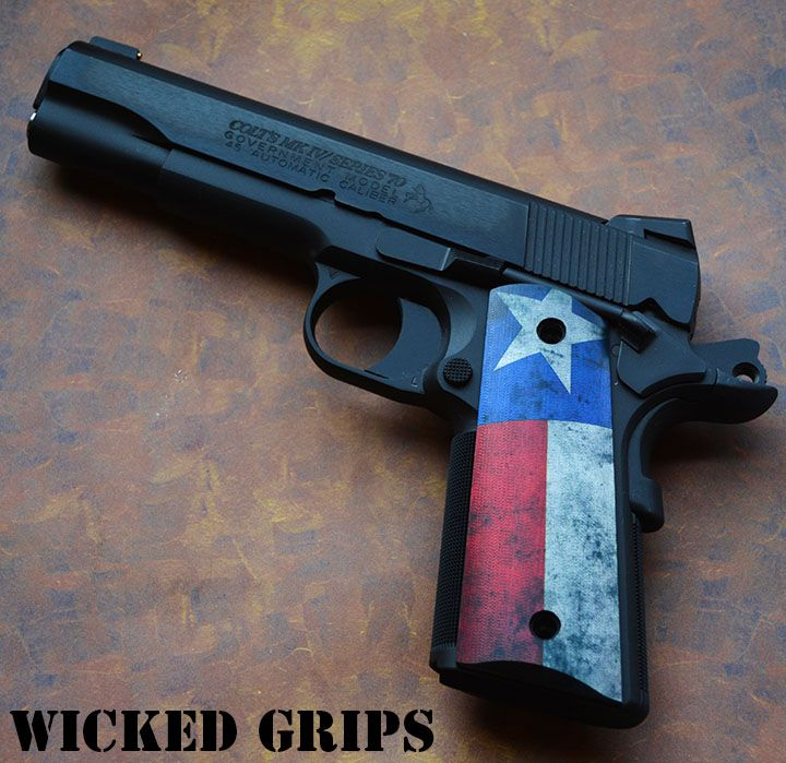 """CUSTOM 1911 GRIPS """"TEXAS FLAG"""" - Wicked Grips - 1911 ALUMINUM  """"TEXAS"""" 1911 1Loading that magazine is a pain! Get your Magazine speedloader today! http://www.amazon.com/shops/raeind"""