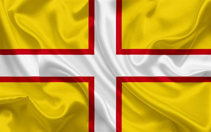 Scarica sfondi Contea di Dorset Bandiera, Inghilterra, bandiere delle contee inglesi, Bandiera del Dorset Inglese della Contea di Bandiere, di seta, bandiera, Dorset